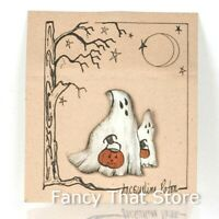 Halloween GHOST TRICK OR TREAT LAPEL PIN by Jacqueline Paton | New on Card-Orig