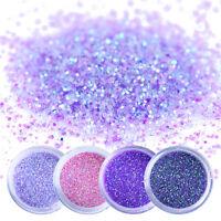 4Boxes 10ml Nail Art Glitter Powder Dust Purple Sequins Paillette Decoration