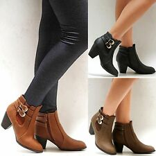 New Women TTa3 Black Tan Khaki Gold Buckle Western Ankle Booties Riding Boots