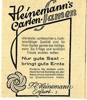 Heinemanns Gartensamen Erfurt Historische Reklame von 1929