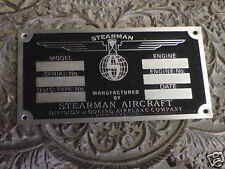 Stearman Boeing Data Plate Acid Etched Stainless Steel WW2