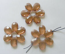 3 Transparent Acrylic Flower Beads - 45mm- Chocolate