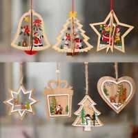 Christmas Snowflakes Wooden Pendants Xmas Tree Ornaments Home Hanging Decor