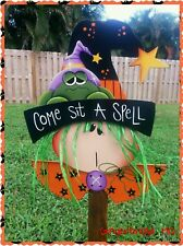 HP Wooden Halloween Witch  yard stake,  Fall, Handmade, Sign
