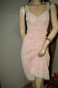 Träumerisches Perlon Prinzessin Unterkleid Spitze rosa Romantik - Spitze Gr. 46
