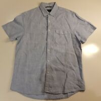 Sportscraft Men's Size M Linen Short Sleeve Shirt Button Front Collar Blue -HS69