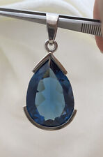 Estate Large Blue Topaz Pear Approx 60 Carats - 925 Sterling Silver Pendant