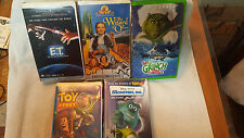 Lot Of 5 CHILDREN Vhs MOVIES: ET - TOY STORY -MONSTERS INC -WIZARD OF OZ -GRINCH