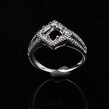 5x5mm Square Cut Solid 14K 585 White Gold Semi Mount Diamond Wedding Ring
