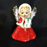 "Vintage Japan Ceramic Christmas Angel Holding Gifts 4 1/2"" tall REPAIRED WING"