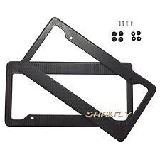 2Pcs Black Carbon Fiber License Plate Frames for Auto-Car-Truck TAG COVER SCREW