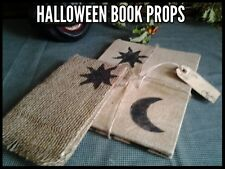 2 Halloween Primitive Vtg Book Props Burlap Fabric Covers Moon & Stars Gift Tag