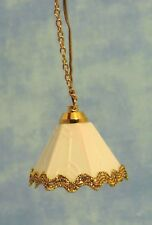 1:12 Scale Dolls House Miniature Ceiling Light White Shade With A Gold Trim 5051