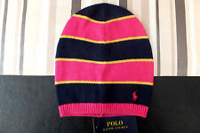 RALPH LAUREN Genuine Girls Pink Navy Stripe Wool Beanie Hat BNWT 4-6 yrs