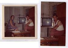 PHOTO ANCIENNE Couleur Poste Télé Télévision TV Couple Marcel Vers 1960