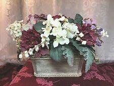 Artificial Silk Flower Arrangement Hydrangea & Carnations in Stoneware Planter