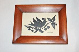 Signed Marilyn Diener Framed Scherenschnitte Folk Art Partridge in Pear Tree