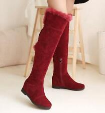 Winter Warm Faux Fur Tops Boots Womens Suede Over Knee High Boots Side Zip Shoes