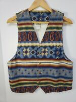 Vintage 80s Vivaldi Jeanswear Boho Southwest Aztec Mens Medium Denim Vest Shirt