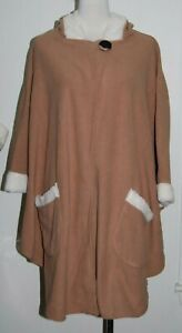 NWT NEW Le Moda Fleece Camel Sherpa Trim Hooded Cape Wrap Poncho One Size