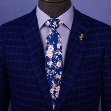 "Multi Colored Floral 3"" Blue White Tie Designer Cotton Woven Necktie Sexy Luxury"