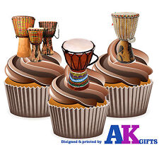 Wooden Bongo Drums Mix 12 Edible Stand Up Cup Cake Toppers Carnival Decorations