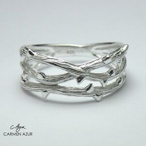 Solid 925 Sterling Silver Crown of Thorns Design Size L,N1/2,P,P1/2 inc Gift Bag