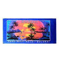 Hawaii Beach Towel 100% Cotton Large 60x30 Blue Palms Sunset Surfer Diamond Head