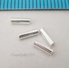 50x BRIGHT STERLING SILVER PLAIN TUBE HEISHI SPACER BEAD 1.5mm x 5mm N038