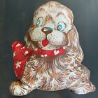 """VTG 60s 70s  Panel Dog Shaped Pillow Stuffed 15"""" Tall Brown Red White"""