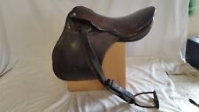 "Used old English Saddle 17""  with stirrups for restoration or display"