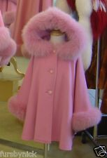 Children's Pink Cashmere Hooded Coat Fox Fur Trim Beautifully Canadian Label