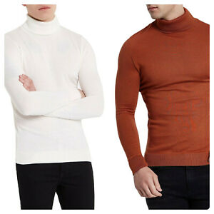 Men's Ex River Island High Collar Turtle Roll neck premium knit jumper Polo Tops