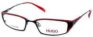 Hugo Boss HG15608 RB Red Black Women Rectangular Full Rim Eyeglasses 50-18-140