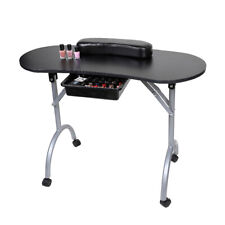 Portable Vented Nail Manicure Table Desk W/ Cushion Carry Bag Black Foldable New