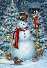 Christmas Tree Snowman Squirrels Bunny Cardinals House Flag Large 40x28
