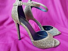 New with tags New Look size 7 gold glitter ankle strap sandal with stiletto heel