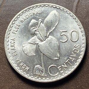 Guatemala 1963 50 Centavo Silver Coin - KM264 12.0g Monja Blanca Orchid Flower