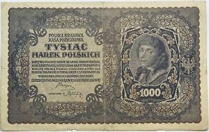 1919 1000 POLISH POLSKI/POLSKA MAREK PRE-ZLOTY/ZŁOTYCH BANKNOTE POLAND MARKS EU