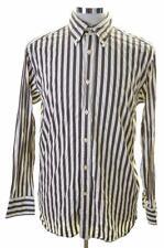 Tommy Hilfiger Mens Shirt Medium Brown Stripes Cotton