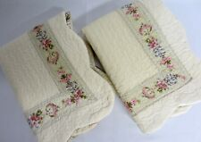 Pair Lt Yellow Quilted FRENCH COUNTRY COTTAGE Floral Border Standard Pillowcases