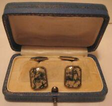 Old Pr Mens Cufflinks Victorian 14K Gold Moss Agate in Original Box