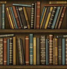 VINTAGE LIBRARY BOOKS BOOKCASE FEATURE DESIGNER WALLPAPER FINE DECOR FD40546