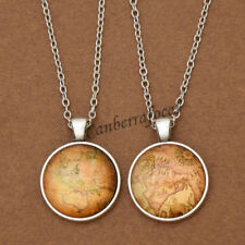 World Map Cabochon Glass Pendant Round Charm Necklace Jewelry Chain Adjustable