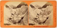 Suisse Ghiacciaio Da Schreckhorn Foto Lamy Stereo PL27L1n Vintage Albumina c1865