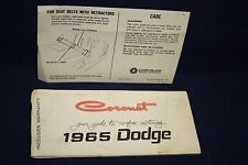 1965 DODGE CORONET OWNER'S MANUAL GUIDE and SEAT BELT INSTRUCTIONS