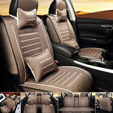 Car Seat Cover Linen Front+Rear Cushion 5-Seats Neck Lumbar Pillow Size M Coffee