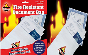 Fireproof Fire Resistant Document Bag Envelope Pouch File Passport Photo books