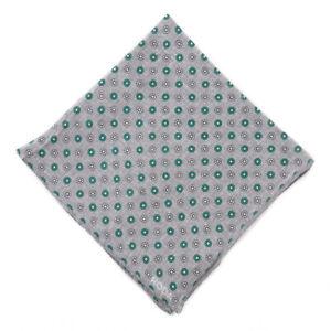 NWT RODA Gray and Green Mini Floral Medallion Print Linen Pocket Square
