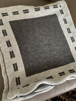 The White House Black Gray Euro Pillow Sham Knit Wool Blend Made In Belgium